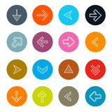Hatched Arrows Set in Circles Royalty Free Stock Photography