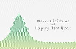 Hatched christmas tree and wish. Green hatched christmas tree and wish on gray background Stock Photography