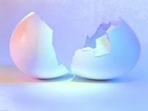 Hatched egg. Metaphor. Soft pastel lighting used (focus on bottom of shell at crack royalty free stock photography