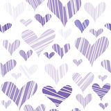 Hatched hearts seamless background Stock Images