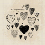 Hatched set of 21 hearts Royalty Free Stock Photo