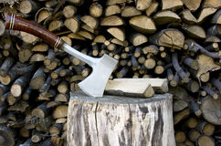 Hatchet sticking in a stump Royalty Free Stock Photos