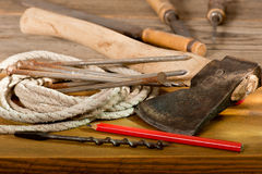 Hatchet. Still life and old hatchet and hand tools Royalty Free Stock Photography