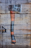 Hatchet on wood Stock Photo