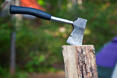 Hatchet in Wood Stock Images