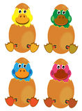 Hatching baby ducks. Illustration of some colored young baby ducks hatching from their eggs Stock Photography