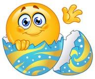 Hatching Easter Egg Emoticon Stock Image