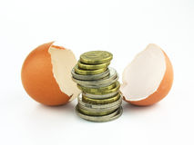 Hatching Money. Money hatched from and an egg stock photos