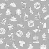 Cooking, seamless pattern, grey, vector. Dishes and food. Hatching with a white pencil on a gray field. Imitation. Vector pattern Stock Images
