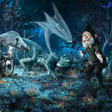 Hatchling dragon and gnome. Night fairytale scenery with hatchling dragon, gnome and fantasy plants Royalty Free Stock Photos