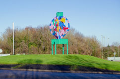 Hatchwarren Roundabout, Basingstoke. Colourful sculpture marking the centre of the Hatchwarren Roundabout in the south of Basingstoke, Hampshire.  The town is Stock Photos