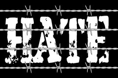 Hate With Barbed Wire Stock Photo