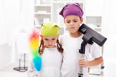 We hate these cleaning days Royalty Free Stock Photos