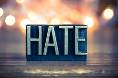 Hate Concept Metal Letterpress Type Royalty Free Stock Photos