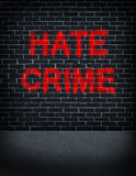 Hate Crime. Social problem concept with a dark grey brick wall with graffiti spray can paint painted on the building structure as a symbol of racism and race vector illustration