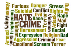 Hate Crime. Word cloud on white background Stock Photography