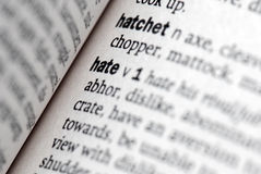 Hate definition in close-up Stock Image