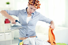 Hate housework royalty free stock photo