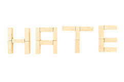 Hate on jenga on a white background Royalty Free Stock Photo