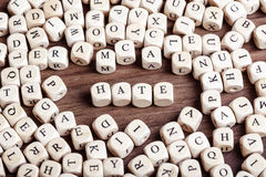 Hate, letter dices word Royalty Free Stock Photos