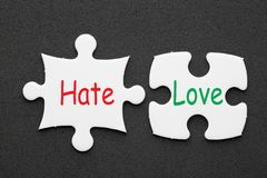 Hate Love Concept stock images