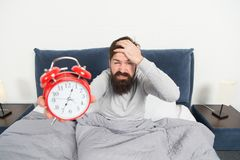 Hate this noise. Problem with early morning awakening. Get up early. Tips for waking up early. Man bearded hipster royalty free stock photos
