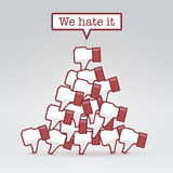 We hate it. Pile of dislikes, social collective values concept vector illustration Stock Image