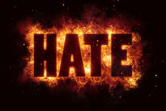 Hate text on fire flames explosion explode Royalty Free Stock Photography