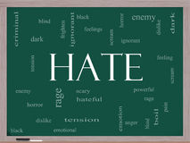 Hate Word Cloud Concept on a Blackboard Stock Photography
