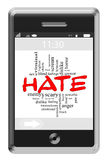 Hate Word Cloud Concept on Touchscreen Phone Stock Images