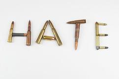 Hate Written In Bullets Royalty Free Stock Photo