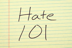 Hate 101 On A Yellow Legal Pad Stock Photos