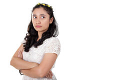Hateful lady look at copyspace Stock Photography