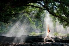 hatha virabhadrasana瑜伽 库存照片