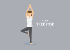 Hatha Yoga Asana Tree Pose Vector Illustration. Sporty women balancing on one leg and both arms stretched out in the air with hands pressed together. Vector Royalty Free Stock Photo