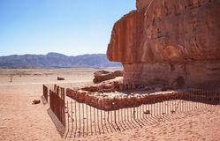 Hathor`s Temple at Timna Park in Israel stock photography