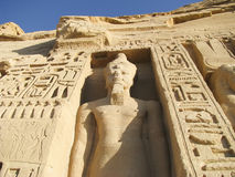 Hathor Temple in Abu Simbel. In southern Egypt  the temple was a gift of Ramses II for his wife Nefertari Royalty Free Stock Photo