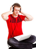 Hating the music Royalty Free Stock Photos