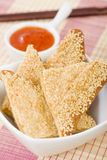Hatosi (Prawn Toast). Chinese toasted bread with minced shrimp and sesame seeds served with sweet chili sauce Stock Images