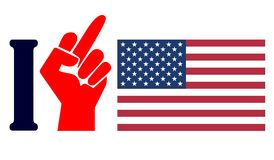 Hatred America. Concept sign for the resentment and hostility against the United States royalty free illustration