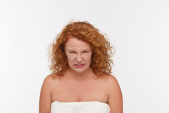 Hatred mature woman stock photo