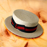 Hats 01. Italian hats on painted background Royalty Free Stock Photo