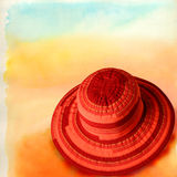 Hats 08. Italian hats on painted background Royalty Free Stock Photos