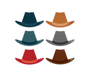 Hats 1. Hats in color variations on a white background vector illustration