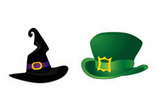 Hats. Set of hats: witch's for Halloween and leprechaun's for St. Patrick's Day Stock Image
