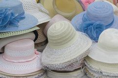 Hats. Many old fashioned women hats Stock Photography