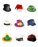 Hats. Collection, set and vector illustration royalty free illustration