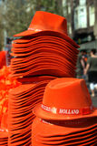 Hats. Many orange hats for koninginnedag in Amsterdam Royalty Free Stock Photography