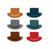 Hats 2. Hats in color variations on a white background vector illustration