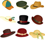 Hats. A vector illustration of different type of hats stock illustration
